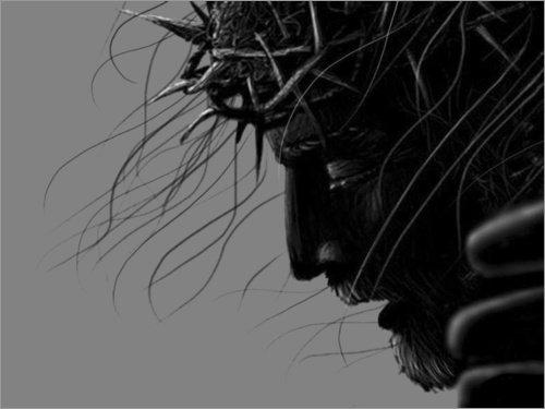 (Posterlounge Acrylglasbild 40 x 30 cm: Jesus Kreuzigung von Michael Petrus - Wandbild, Acryl Glasbild, Druck auf Acryl Glas Bild)