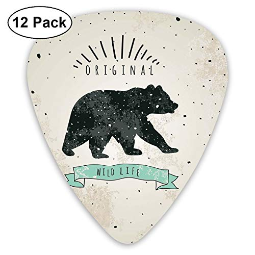 ectrum (0.46mm-0.96mm), Vintage Wildlife Label Hunting Theme Icon With Random Dots Predator Paws,For Your Guitar or Ukulele ()