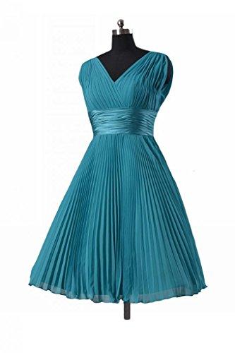daisyformals Vintage Robe courte de Robe de demoiselle d'honneur en mousseline (bm3171) Bleu - #37-Royal Blue