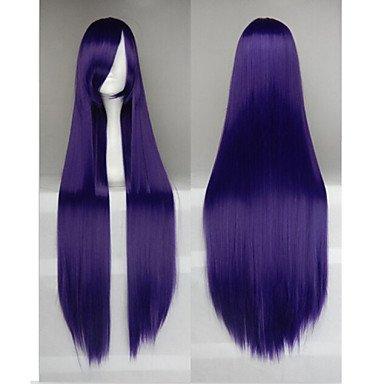 HJL-Heißer Verkauf 40 Zoll Hochtemperatur Faser lange geraden schwarzen lila Cosplay Kostüm Perücke Seite (Schwarz Kostüm Perücken Für Verkauf)