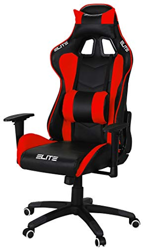 ELITE Racing Gaming Stuhl MG-200 - Bürostuhl - Kunstleder - Ergonomisch - Racer - Drehstuhl - Chair - Chefsessel - Schreibtischstuhl (Schwarz/Rot)