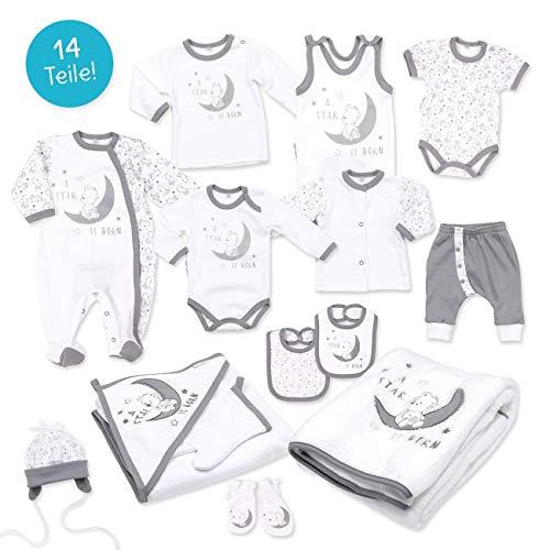 Baby Sweets Baby Erstausstattung Unisex weiß grau | Motiv: A Star is Born | Baby Set mit 14 Teilen für Neugeborene & Kleinkinder | Größe Newborn (56)