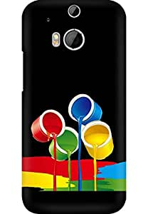 AMEZ designer printed 3d premium high quality back case cover printed hard case cover for HTC One M8 (Colourful Paint Buckets Black)
