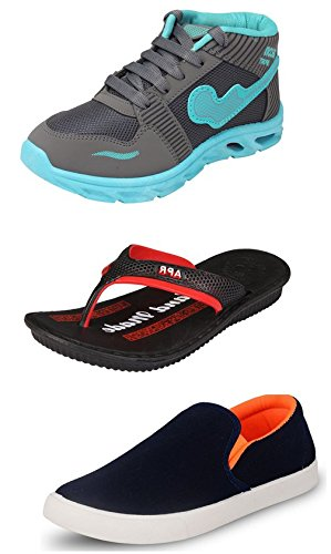 Maddy Perfect Combo Pack Of 3 Shoes & Slippers For Men In Various Sizes