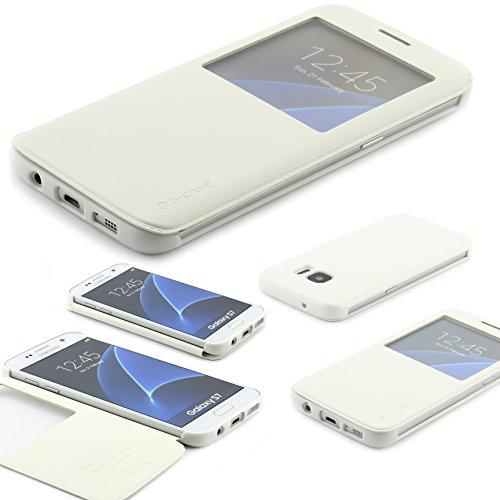 Samsung Galaxy S7 Schutz Hülle G Case Elegant Series Handy Schutz Tasche Flip Cover mit Sichtfenster edles Case ScorpioCover weiss / creme
