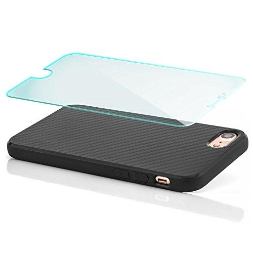 Coque Hülle + Panzerglas iPhone 7 Case Silicone Cover Carbon Design Housse en TPU Mince Protecteur Bumper et pare-chocs Protection pour modèle 4.7 pouces - Noir Noir