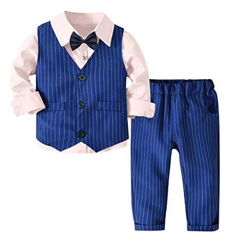 Riou-Baby Anzug Set Kinder Pullover Familie Pyjama Outfit Baby Jungen Gentleman Weste Bow Hosenträger Strap Hosen + Shirt Ausstattungs 3PCS Set (80, Rosa)