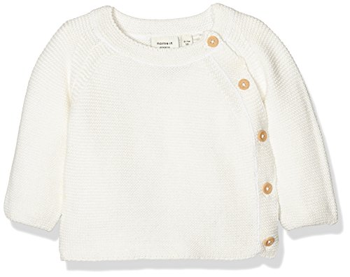 NAME IT Baby-Jungen Pullover Nitsky Knit Card Mznb, Weiß (Snow White), 62