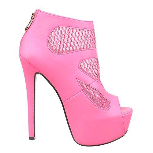 Damen Schuhe, QJ15347, PUMPS HIGH HEELS PLATEAU SANDALETTEN Pink