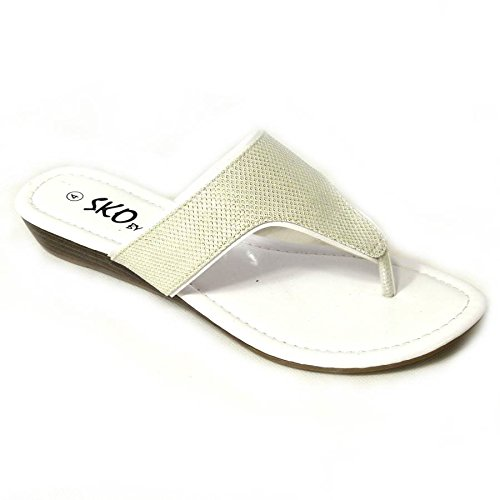 Femme Strass Mesdames Faible Wedge Sandales Mules orteil Post Chaussures à enfiler Taille 345678 White (H276-2Q)