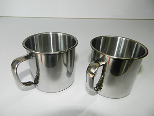 2 X tasses quart métal Avec Anse mug 7cm petite tasse randonneurs campeurs