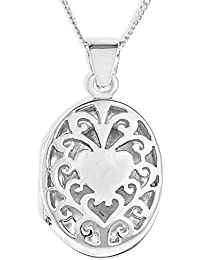Ornami Silver Ladies' Tree of Heart Oval Locket on 46cm Curb Chain