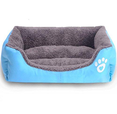 Tonsee Lieblingshund Cat Bed Welpe Kissen Haus Haustier weichen warmen Kennel Mat Decke Hundebetten für Welpen (S, blau) -