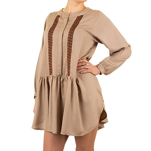 Schuhcity24 Damen Tunika Hippie Bluse Hellbraun M/L (Tochter Womens Dunklen T-shirt)
