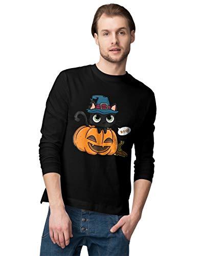 Cat In A Pumpkin with A Witch Hat Herren Langarmshirt M ()