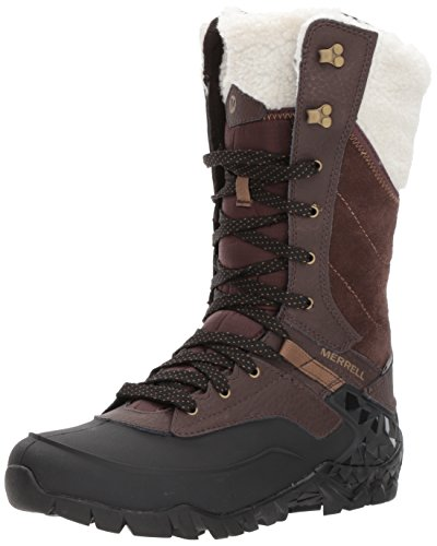 Merrell Women Aurora Tall Ice+ Waterproof High Rise Hiking Shoes, Brown (Espresso),...
