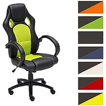 CLP Silla de oficina FIRE, asiento de LUJO ajustable en altura con un revestimiento de cuero sintético verde