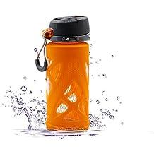SZPLUS 650ml/480ml Sporttrinkflasche aus Glas Glastrinkflasche BPA & BPS frei Glasflasche mit Silikonhülle