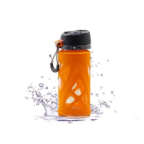 SZPLUS 650ml/480ml botella de cristal con silicona manga amapola Depor