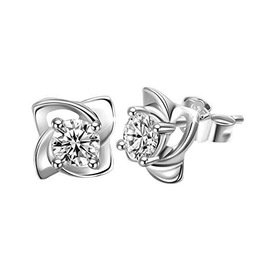 LUFA Clover orecchini di cristallo argentato Orecchini Zirconia Stud donne di stile coreano
