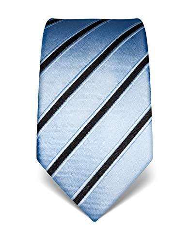 ren Krawatte reine Seide gestreift edel Männer-Design zum Hemd mit Anzug für Business Hochzeit 8 cm schmal/breit hellblau ()