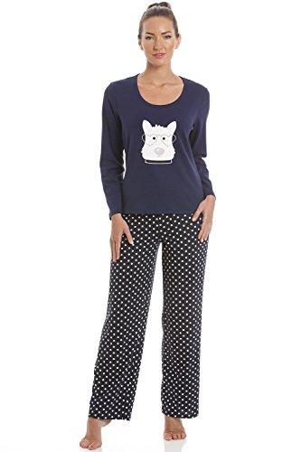 Damen Schlafanzug - Hundemotiv Scottish Terrier - Dunkelblau 44