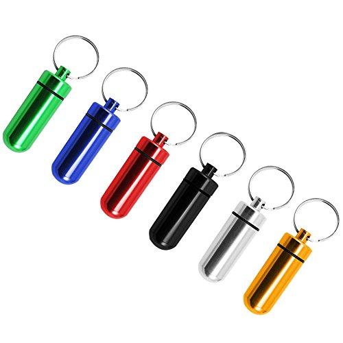 COM-FOUR® Camping & Outdoor Tablettendose / Medikamentenbox / Pillendose als Schlüsselanhänger - wasserdicht (6er breit)