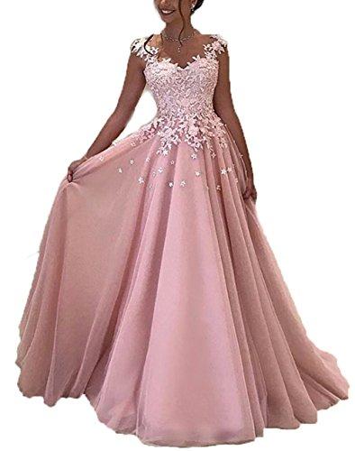 NUOJIA Damen Prinzessin Ballkleider Lange mit Appliques Party kleid Rosa 38