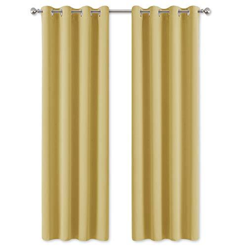 Pony dance tende camera da letto oscuranti termiche isolanti con occhielli per casa moderne 2 pannelli, 140 x 200 cm giallo
