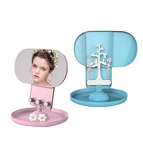 Joenzo cremagliera da scrivania creativa per gioielli portaoggetti portatile ovale multifunzionale specchio per trucco ragazza rossetto scatola di immagazzinaggio decorazioni per la casa, blu