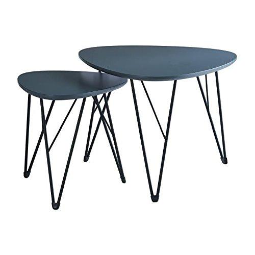 SIXTIES Set de 2 tables basses vintage laquées gris semi mat + pieds métal laqué noir - L 40 x l 40 cm et L 60 x l 60 cm