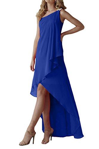 Missdressy Damen Abendkleid Falte Hi-Lo Chiffon Partykleid Ein-Traeger Lang-38-Royalblau