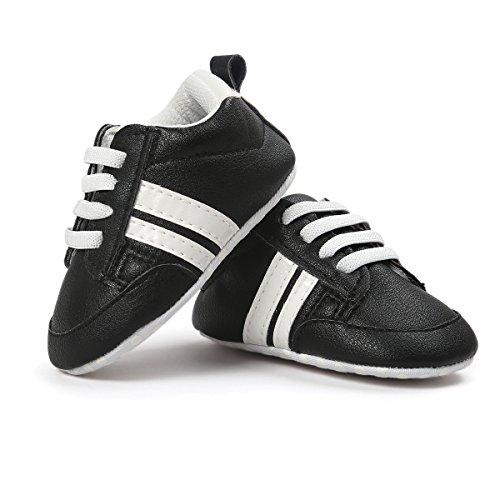 Babycute Baby-Schuhe aus Segeltuch mit weicher Sohle, für Babys Jungen und Mädchen, Schuhe First Walkers, Slip On, Beige - A1-Black - Größe: 0-6 Mois