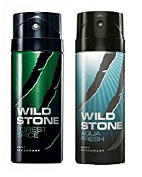 Wild Stone Mens Deodorant Forest Spice And Aqua Combo Pack 2 (150 ML)