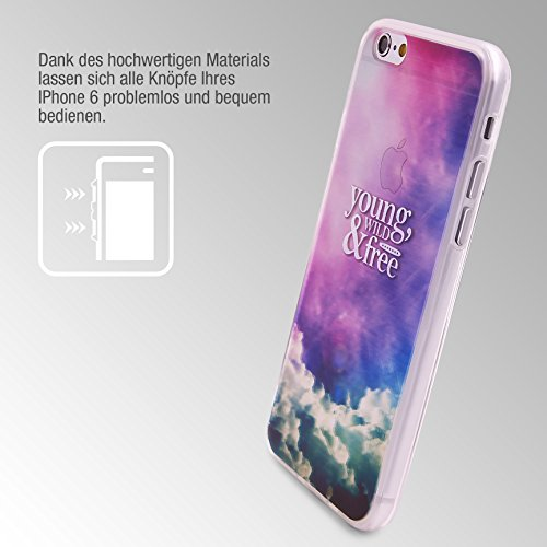 Urcover® Semi Softcase Hülle | Apple iPhone 6 / 6s | TPU Muster Berge | KAMERASCHUTZ | Handyhülle | Cover Back-Case Handyschutz Young Wild & Free