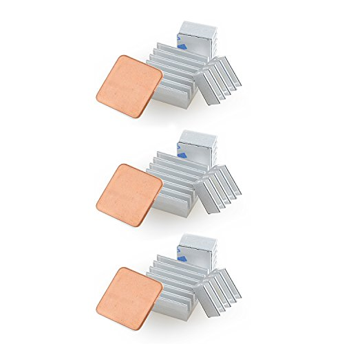 Aukru 3pcs 3 Set Dissipateurs en Aluminium Ensemble du Heatsink Thermique pour Raspberry Pi 3 Model B+/Pi 3 Model B/Pi 2 Model B et Pi B+