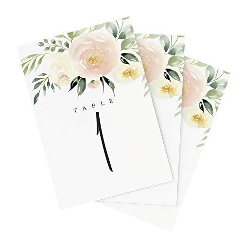 Bliss Paper Boutique Tischnummern für Hochzeiten, Blumenmuster, 25