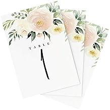 Bliss Paper Boutique - Números para Mesa de Boda, diseño Floral