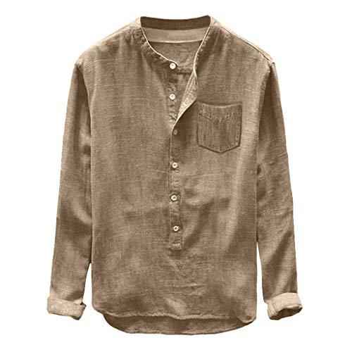 Crazboy Mode Herren Casual Blouse Linen and Cotton T-Shirt Long Sleeve Top(XX-Large,Khaki)