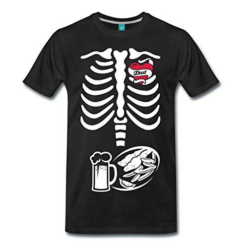 Schwangerschaft Skelett Papa Männer Premium T-Shirt von Spreadshirt®, L, (Halloween Kostüme Baby Vater)