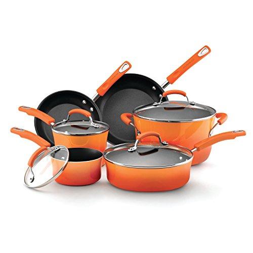 Rachael Ray 10-Piece Non-Stick Cookware Set, Set of 10, Orange