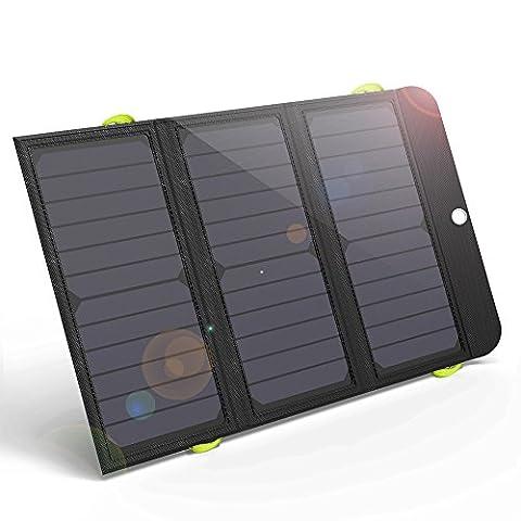 ALLPOWERS Chargeur Solaire 21W avec Batterie 8000mAh, 4 ports USB et Sortie 5A, SunPower Panneau Solaire Power Bank pour iPhone 7 6s 6 Plus, iPad Air mini, Samsung Galaxy et plus Android