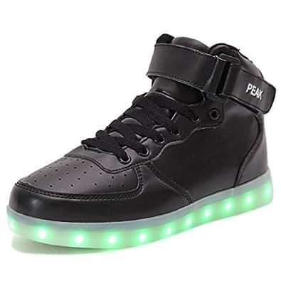 PEAK Ragazza Ragazzi LED lampeggiante Scarpe Sneaker Scarpe sportive (EU 31, High top Nero)