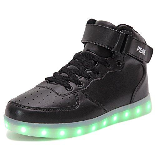 PEAK Ragazza Ragazzi LED lampeggiante Scarpe Sneaker Scarpe sportive (EU 33, High top Nero)