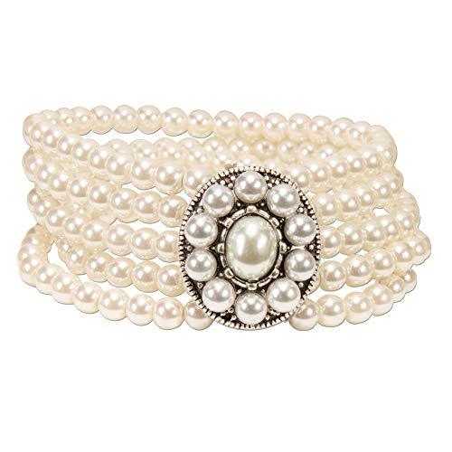 Alpenflüstern Perlen-Trachten-Armband Edda - elastische mehrreihige Trachten-Armkette mit Schmuck-Mittelteil, eleganter Damen-Trachtenschmuck, Perlenarmband Creme-weiß DAB061 (Trachten Perlen Schmuck)