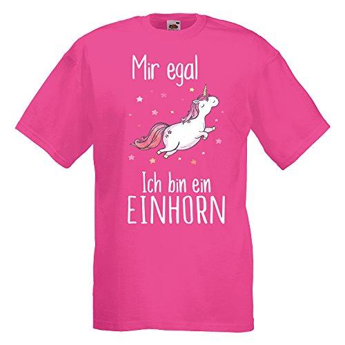 Einhorn Unisex T-Shirt Mir egal ich Bin EIN Einhorn mit Unicorn Motiv Spruch Cool Fuchsia XL