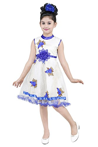 YAYAVAR™ Girls Net Made White & Blue Colored Casual/Party Wear Frock For...