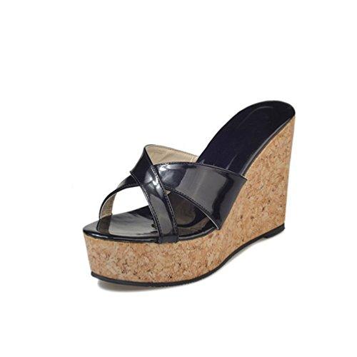 Damen Wedge Slides Sandalen Sexy Ladies High Heel Plateau Sommer Open Toe Dress Pantoffel (Clogs Folien Schwarze)