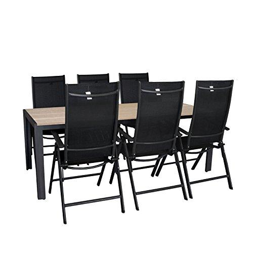 7tlg. Gartengarnitur Aluminium 7-Positionen Hochlehner Polywood Gartentisch Sitzgruppe 205x90cm Terrassenmöbel Silbergrau / Schwarz