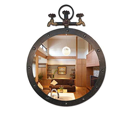 Espejo de Pared Antiqued Decoración Diámetro 50 cm Tap Creative Retro Negro Espejo Redondo para baño...